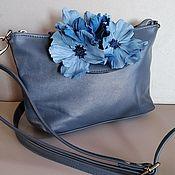 Сумки и аксессуары handmade. Livemaster - original item Leather bag.Bag with applique. Clutch with anemone, gray blue. Handmade.