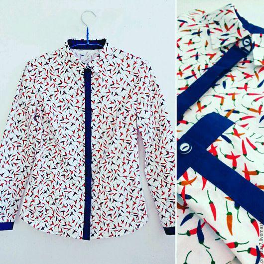 """Блузки ручной работы. Ярмарка Мастеров - ручная работа. Купить Рубашка женская """"Перчики"""". Handmade. Рубашка из хлопка, рубашка женская"""
