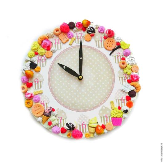 """Часы для дома ручной работы. Ярмарка Мастеров - ручная работа. Купить Часы со сладостями """"Французкое мороженное"""". Handmade. Белый"""