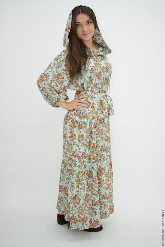 Платья ручной работы. Ярмарка Мастеров - ручная работа. Купить Платье в капюшоном. Handmade. Мятный, славянское платье