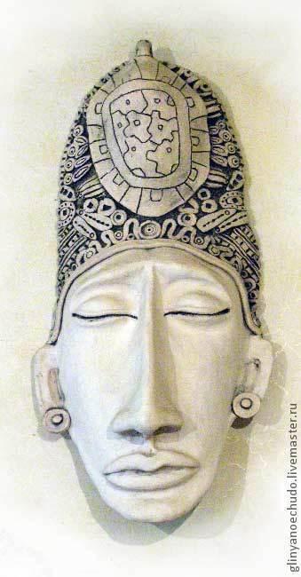 Интерьерные  маски ручной работы. Ярмарка Мастеров - ручная работа. Купить маска индейца майя. Handmade. Маска, этника, ангоб
