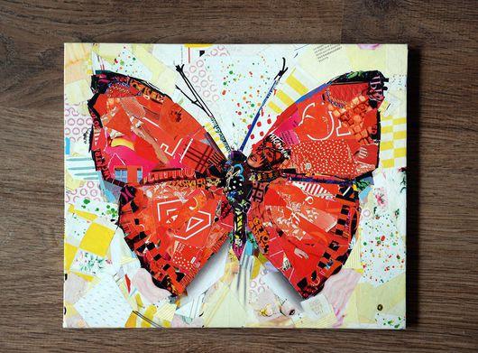 Животные ручной работы. Ярмарка Мастеров - ручная работа. Купить Бабочка (коллаж). Handmade. Ярко-красный, белый, бабочка, коллаж