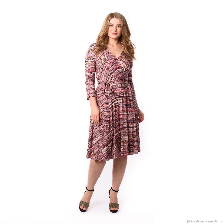 5e442f4d8a83e6d ручной работы. Ярмарка Мастеров - ручная работа. Купить Розовое трикотажное  платье с запахом. ...
