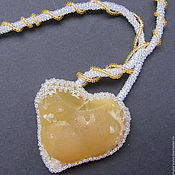 "Украшения manualidades. Livemaster - hecho a mano Necklace of beads with fluorite ""Heart"". Handmade."