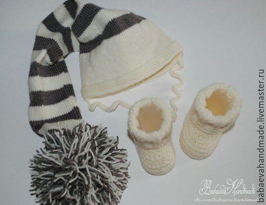 """Для новорожденных, ручной работы. Ярмарка Мастеров - ручная работа. Купить Комплект для новорожденного """"Гномик"""". Handmade. Комплект для фотосессии, белый"""
