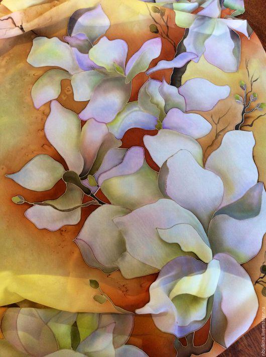 """Шали, палантины ручной работы. Ярмарка Мастеров - ручная работа. Купить Палантин """" Орхидеи"""". Handmade. Цветочный, роспись по шелку"""