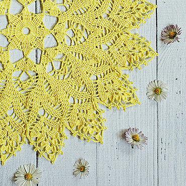 Для дома и интерьера ручной работы. Ярмарка Мастеров - ручная работа Салфетка крючком жёлтая ажурная. Handmade.
