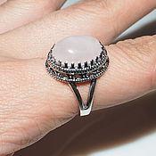 Украшения handmade. Livemaster - original item Ring Maria rose quartz, 925 sterling silver. Handmade.