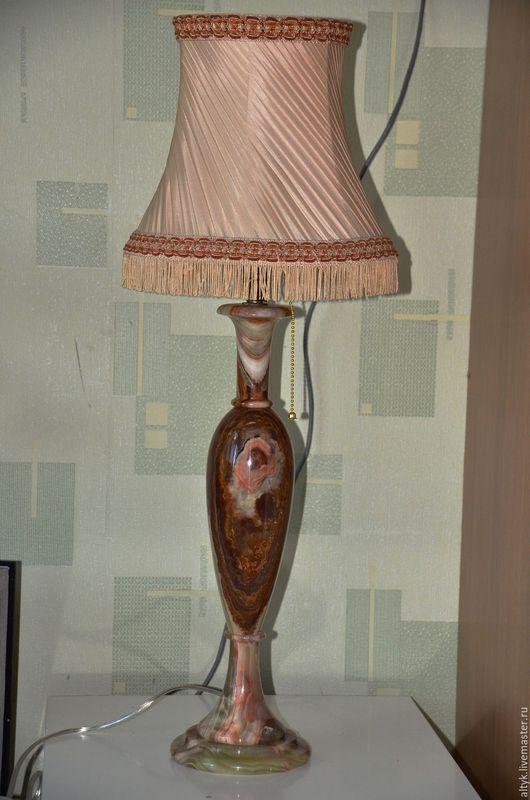 Винтажные предметы интерьера. Ярмарка Мастеров - ручная работа. Купить Большая (65 см) настольная лампа из оникса. Handmade. Коричневый