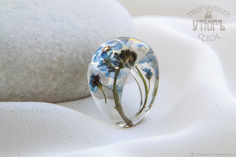 Прозрачное кольцо с настоящими цветами и травами из ювелирной смолы, Кольца, Самара,  Фото №1