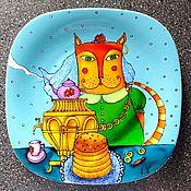 """Посуда ручной работы. Ярмарка Мастеров - ручная работа Декоративная тарелка""""Кошкины блины"""". Handmade."""