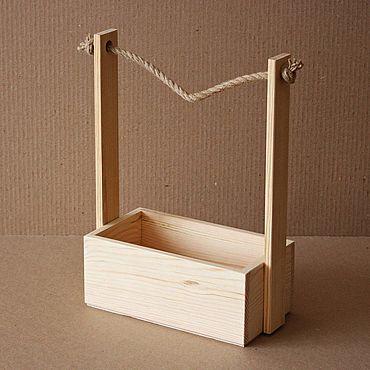 Цветы и флористика ручной работы. Ярмарка Мастеров - ручная работа Цветочный ящик из массива сосны, с веревочной ручкой. Handmade.