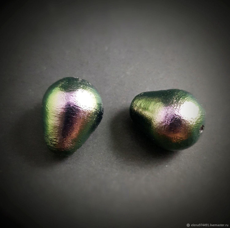 Для украшений ручной работы. Ярмарка Мастеров - ручная работа. Купить 15х20мм. Хлопковый жемчуг. Богатый черно-зеленый. Handmade.