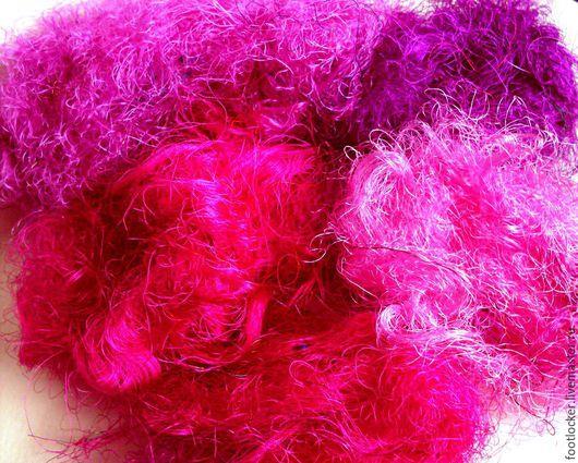 Валяние ручной работы. Ярмарка Мастеров - ручная работа. Купить Нити сари (sari silk) для валяния, Фуксия, цена за 10 гр. Handmade.