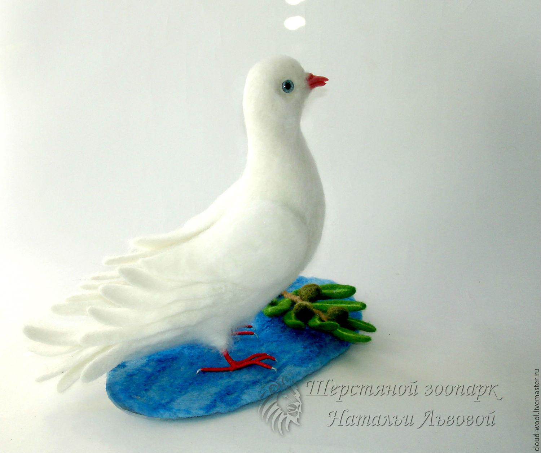 Голубь  Мира / голубь с оливковой ветвью / птица валяная из шерсти, Войлочная игрушка, Сочи,  Фото №1