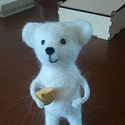 Войлочная игрушка ручной работы. Ярмарка Мастеров - ручная работа Валяная мышка с сыром из полимерной глины. Handmade.