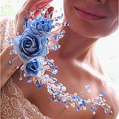 """Свадебный салон ручной работы. Ярмарка Мастеров - ручная работа """"Небесные розы"""". Спиралевидный браслет. Handmade."""