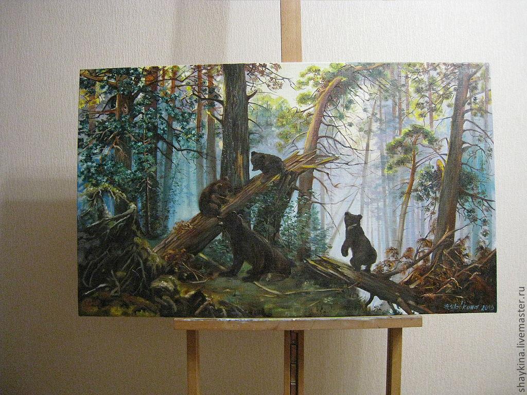 Картина маслом утро в сосновом лесу