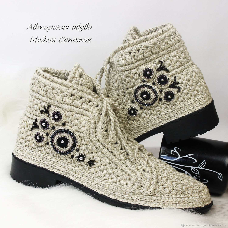 66c1a90691f5 Ярмарка Мастеров - ручная работа. Купить Льняные ботинки с вышивкой женские  ...