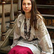 Одежда ручной работы. Ярмарка Мастеров - ручная работа Рубаха льняная с кружевом Орепей. Handmade.