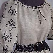 Русский стиль ручной работы. Ярмарка Мастеров - ручная работа Платье из натурального льна.. Handmade.