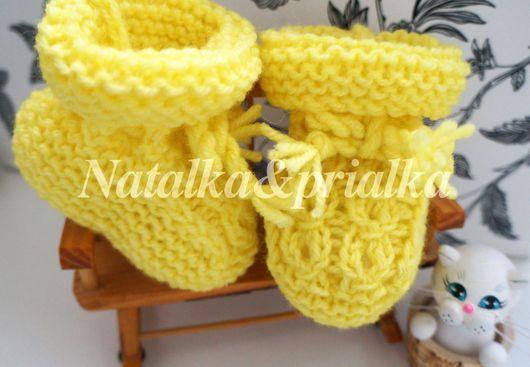 Для новорожденных, ручной работы. Ярмарка Мастеров - ручная работа. Купить Пинетки для малыша с косичкам полушерстяные желтые. Handmade. Желтый
