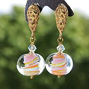 Украшения handmade. Livemaster - original item Earrings lampwork Candy gold plated silver. Handmade.