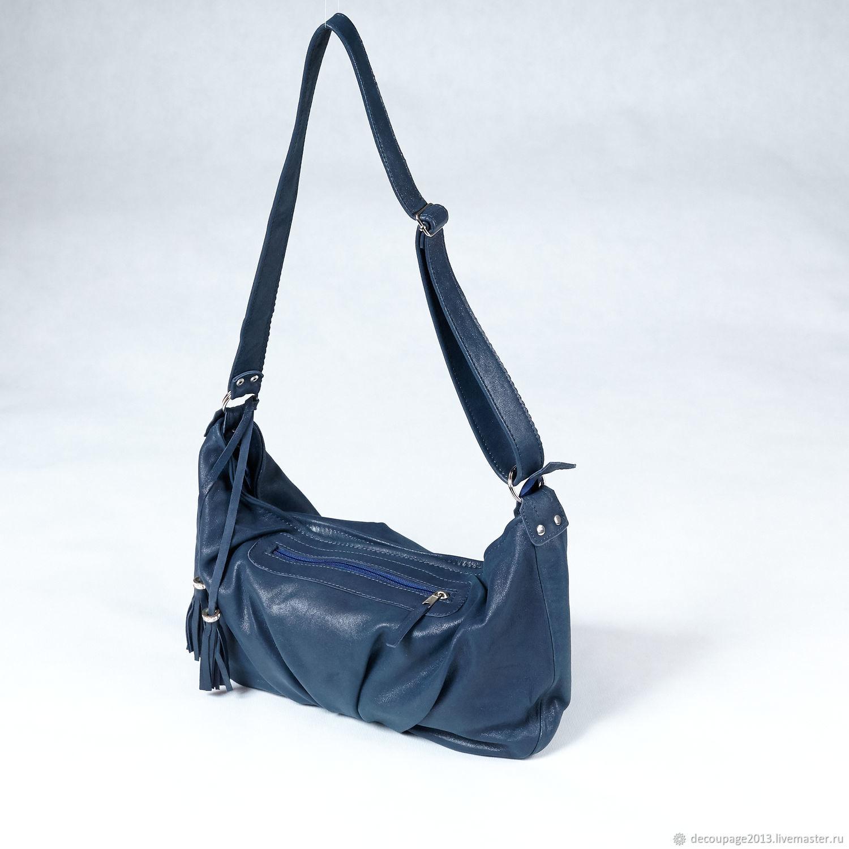 Сумка через плечо, кроссбоди кожаная, сумка синяя, Сумка через плечо, Новосибирск,  Фото №1