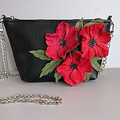 Сумки и аксессуары handmade. Livemaster - original item Leather bag .Bag with applique.Mini poppies black. Handmade.