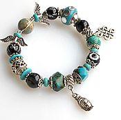 Украшения handmade. Livemaster - original item Б36а Bracelet with black agate and Turkmenistan. Handmade.