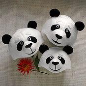 Аксессуары handmade. Livemaster - original item Panda hat mask bears family bow family look. Handmade.