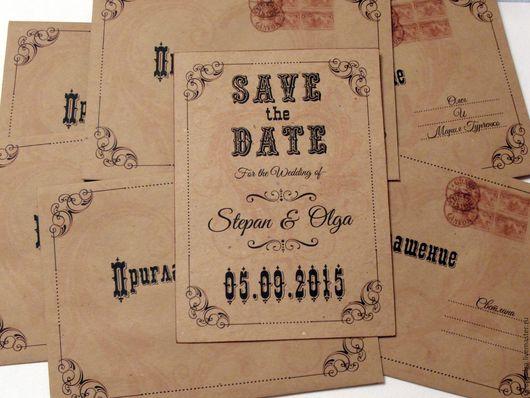 Свадебные открытки ручной работы. Ярмарка Мастеров - ручная работа. Купить Приглашения в стиле Вестерн. Handmade. Крафт-бумага