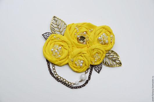 """Броши ручной работы. Ярмарка Мастеров - ручная работа. Купить Брошь """"Желтые розы"""". Handmade. Желтый, брошь, текстиль"""