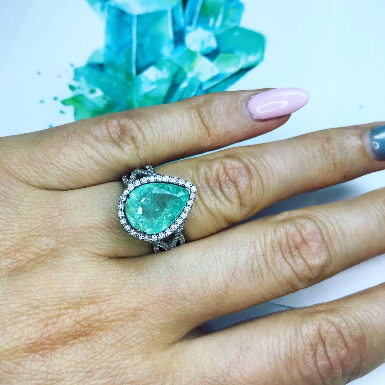 Кольцо с турмалином Параиба и бриллиантами – заказать на Ярмарке Мастеров – KMMAYRU | Кольца, Москва