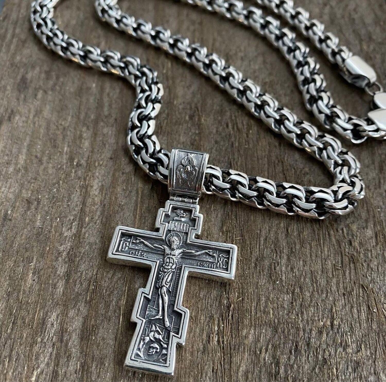 Серебряная цепь Бисмарк с крестом, Комплекты украшений, Кострома,  Фото №1
