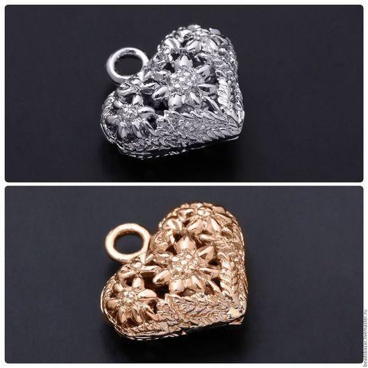 Для украшений ручной работы. Ярмарка Мастеров - ручная работа. Купить Подвеска сердце. Handmade. Комбинированный, позолоченная фурнитура