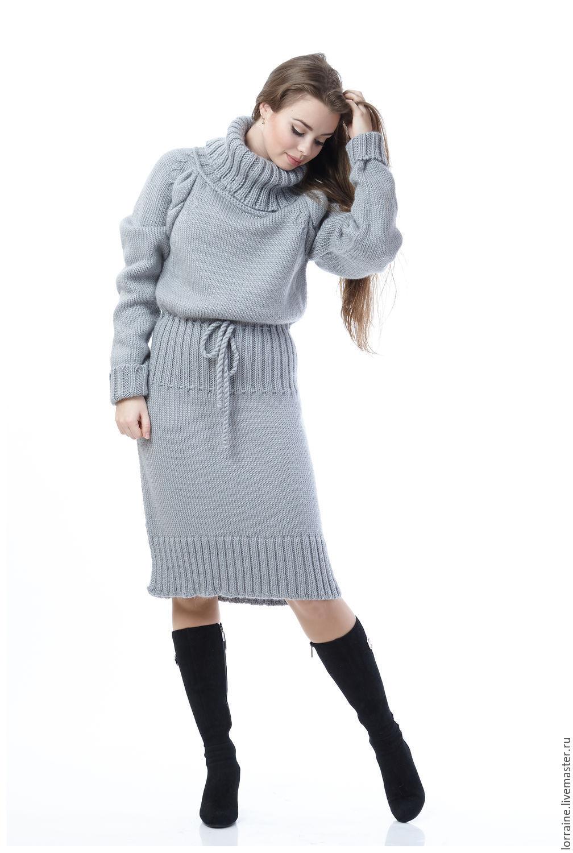 Платье шерстяное вязаное