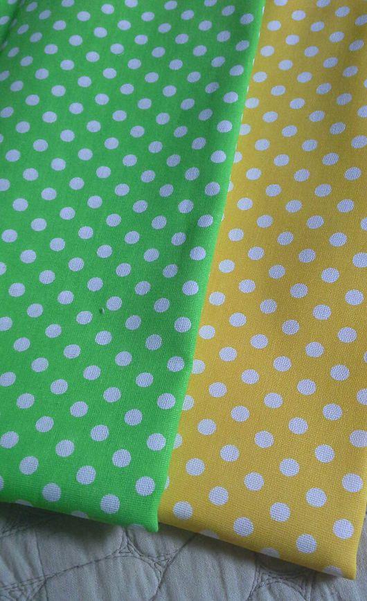 Шитье ручной работы. Ярмарка Мастеров - ручная работа. Купить Хлопок желтый и зеленый в белый горошек. Handmade. Хлопок для рукоделия