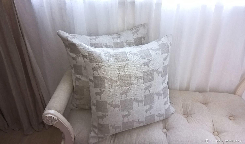 подушка льняная, наволочка льняная в скандинавском стиле, декоративная подушка, подушка с лосями, аксессуар текстиль льняной, лоси, принт лоси