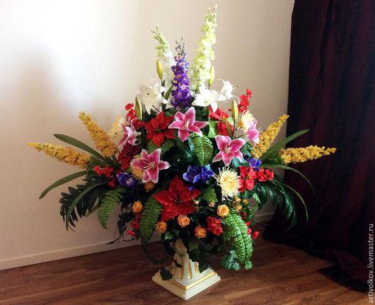 Композиция из искусственных цветов в вазоне Высота 165 см