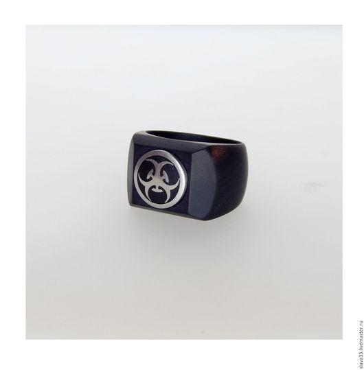 Кольца ручной работы. Ярмарка Мастеров - ручная работа. Купить Перстень из эбена и стали.. Handmade. Черный, кольцо из дерева, дерево