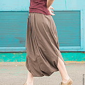 Одежда ручной работы. Ярмарка Мастеров - ручная работа Юбка-штаны из однотонного льна. Handmade.