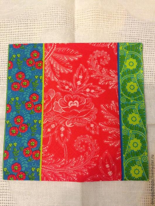 Фоновая салфетка - 3 мотива - 189 Синий, красный и  зеленый Салфетка для декупажа - фоновая салфетка Декупажная радость