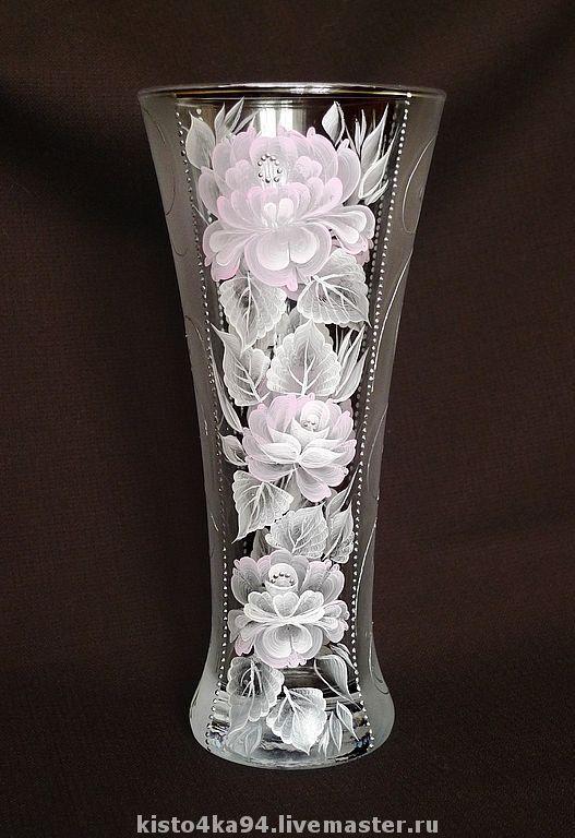 Ваза стеклянная для цветов с росписью  подарок на свадьбу подарок на юбилей подарок подруге маме бабушке ваза с росписью для цветов для сухоцветов стеклянная ваза с росписью цветы розовые розы