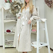 Одежда handmade. Livemaster - original item The dress of linen with embroidery and color with wedges. Handmade.