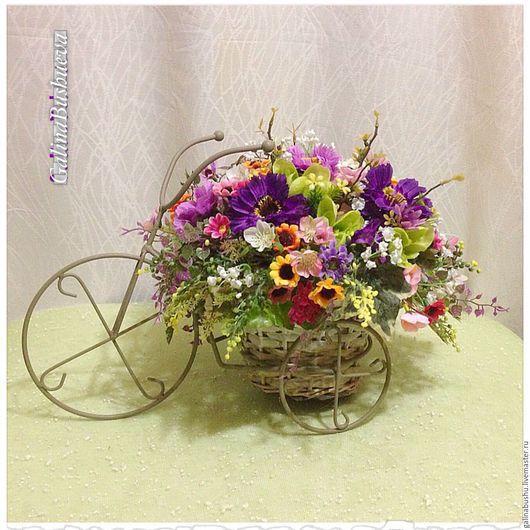 """Интерьерные композиции ручной работы. Ярмарка Мастеров - ручная работа. Купить """" Цветы лета. Велосипед"""" интерьерная композиция. Handmade."""