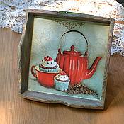 Для дома и интерьера ручной работы. Ярмарка Мастеров - ручная работа Мини-поднос Приятного чаепития. Handmade.