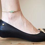 Украшения handmade. Livemaster - original item A thin chain bracelet on the leg with tinted jadeite. Handmade.