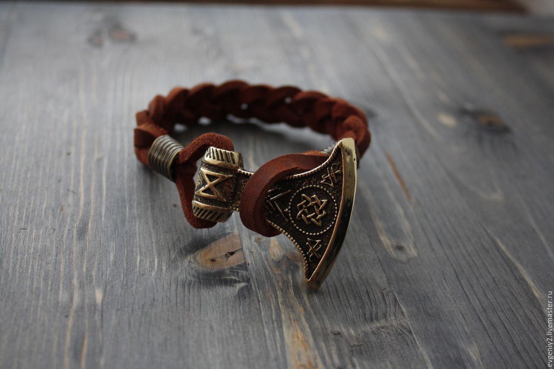 f473d2f12bf0 Купить кожаный браслет с секирой перуна Браслеты ручной работы. кожаный  браслет с секирой перуна ,браслет перуна ,славянский браслет ...
