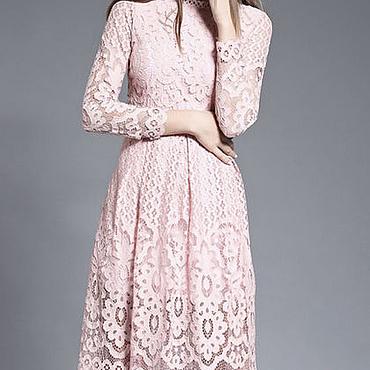 Одежда ручной работы. Ярмарка Мастеров - ручная работа Платье пудровое розовое кружевное. Handmade.